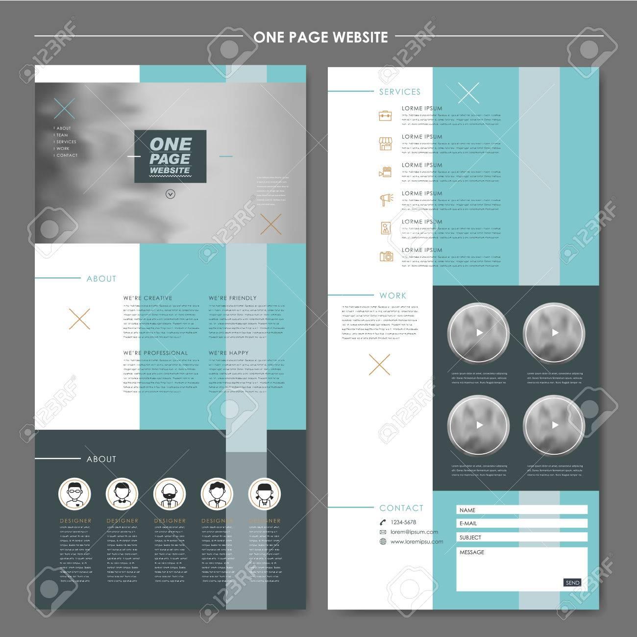 Zeitgenössische Eine Seite Website-Design-Vorlage Mit Geometrischen ...