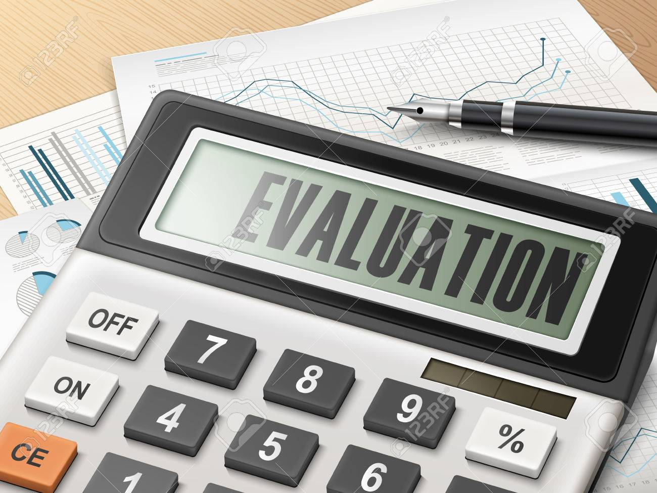 Calculator With The Word Evaluation On The Display Royalty Free