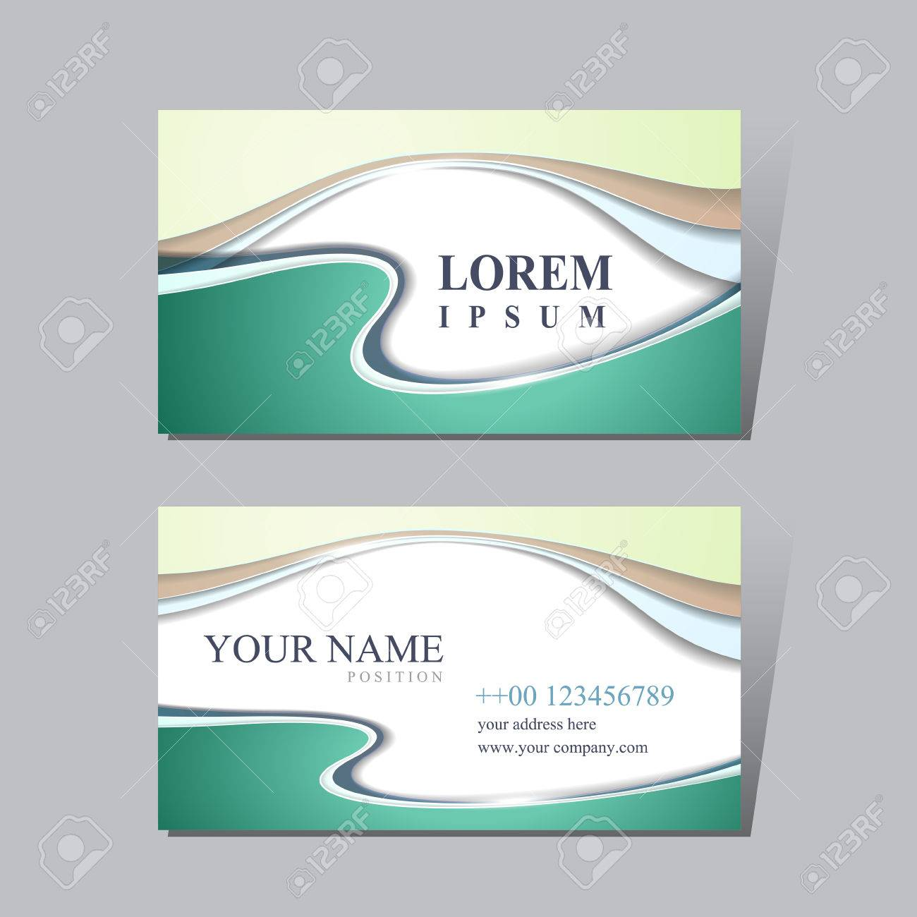 Modern business card design template with glossy wave elements modern business card design template with glossy wave elements stock vector 41859558 reheart Images