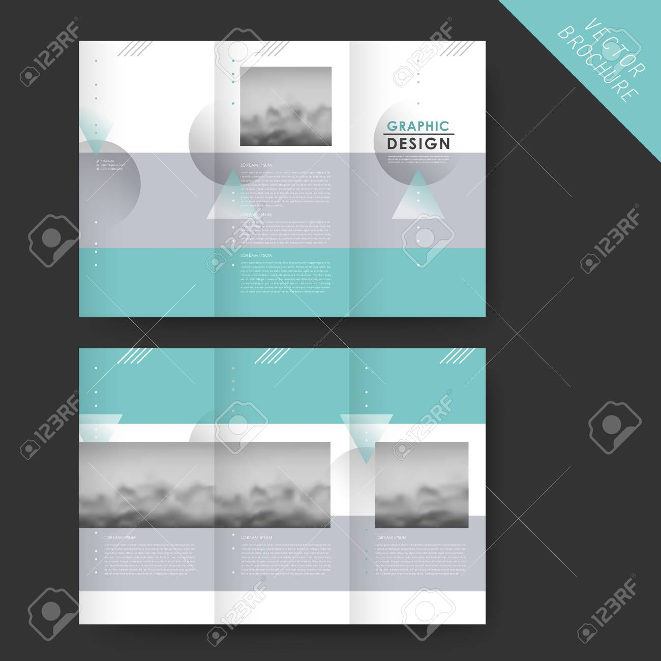 Elegant Tri Fold Template Design With Geometric Elements And