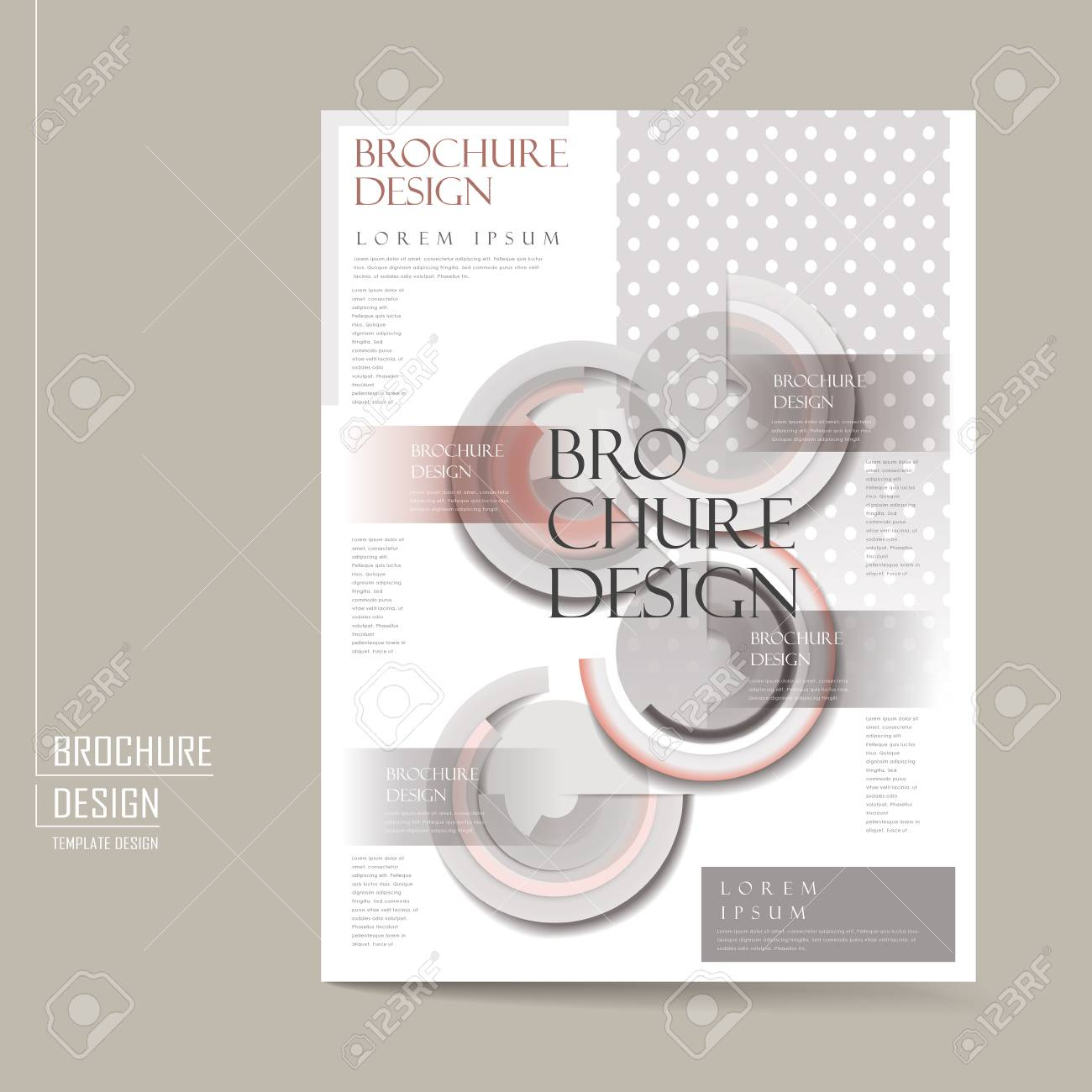 Elegant Brochure Template Design With Geometric Elements In Grey