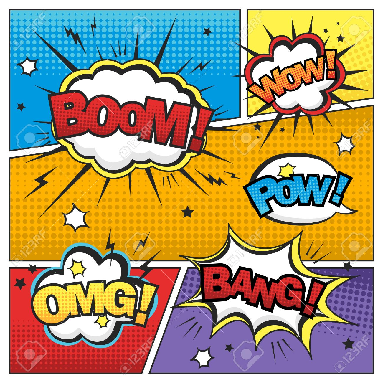 Attractive Comic Sound Effect Set Isolated On Colorful Comic Strip Template  Stock Vector   42086680
