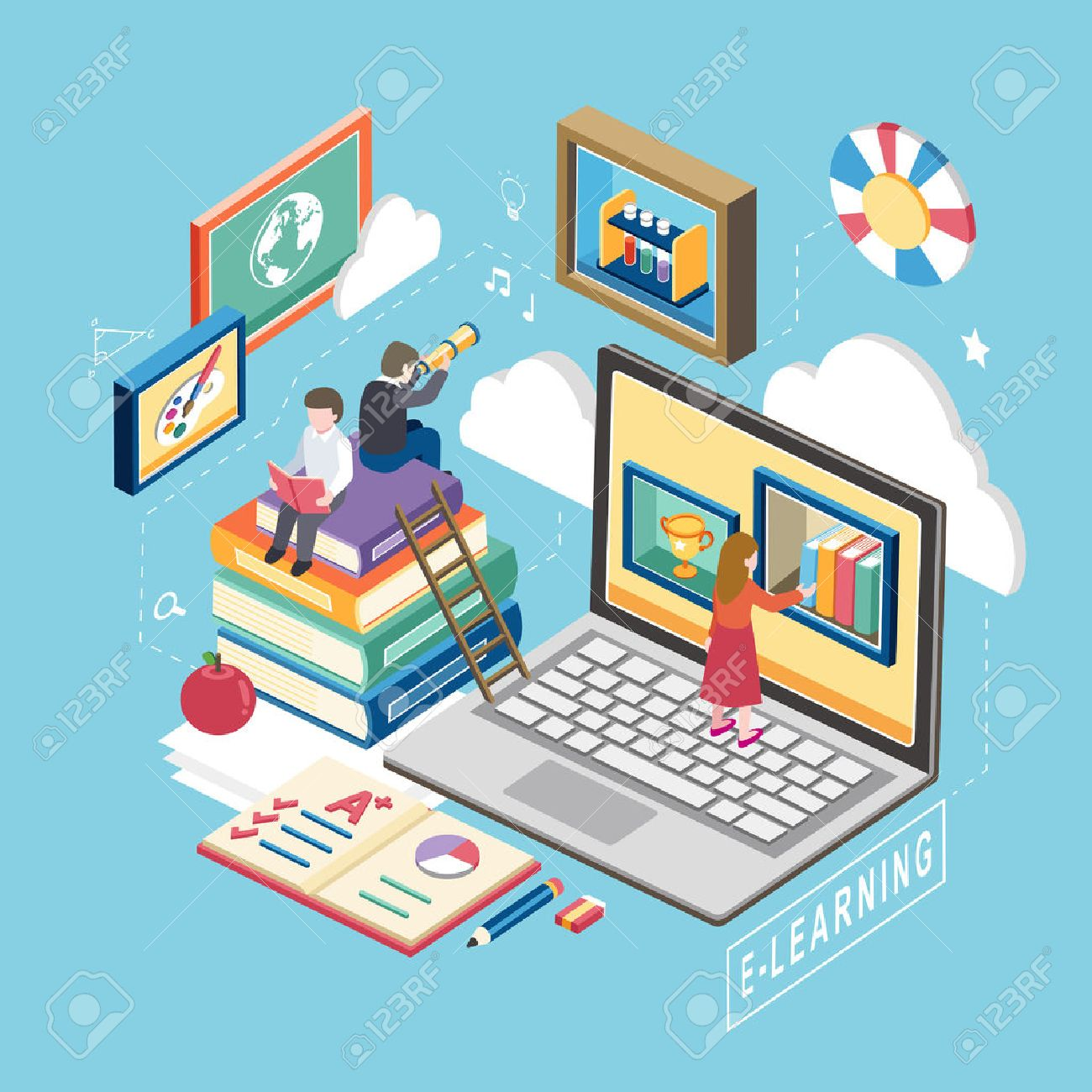 flat 3d isometric design of e-learning concept Stock Vector - 42442562