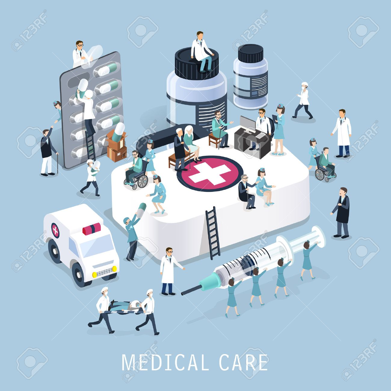 flat 3d isometric design of medical care concept - 42442674