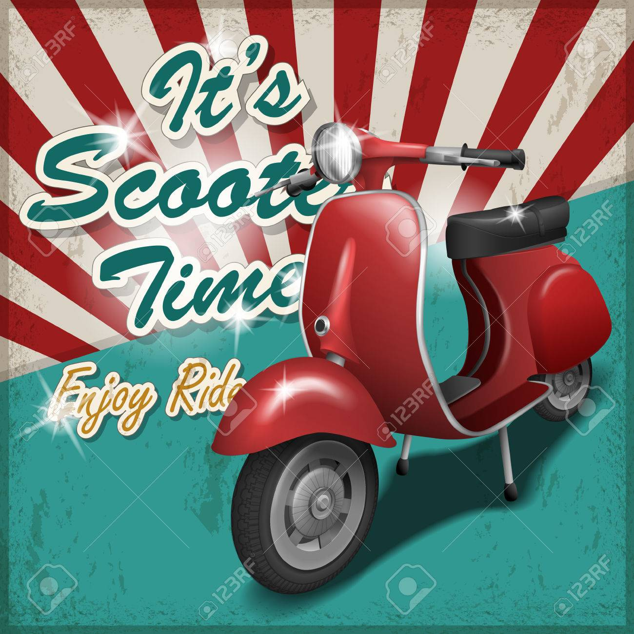 Scooter Travel Concept Poster Design With Retro Background Royalty Free Cliparts Vectors And Stock Illustration Image 42444366