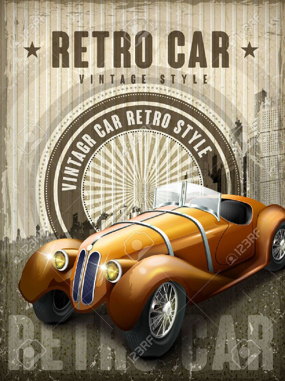 Attractive Retro Car Design Poster With Vintage Background Royalty ...