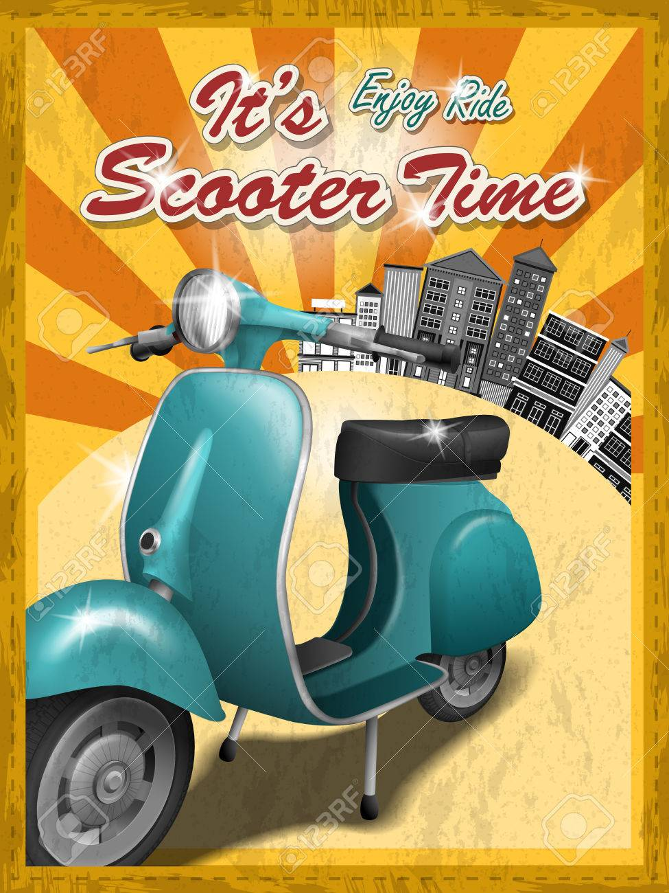 Scooter Travel Concept Poster Design With Retro Background Royalty Free Cliparts Vectors And Stock Illustration Image 42445281