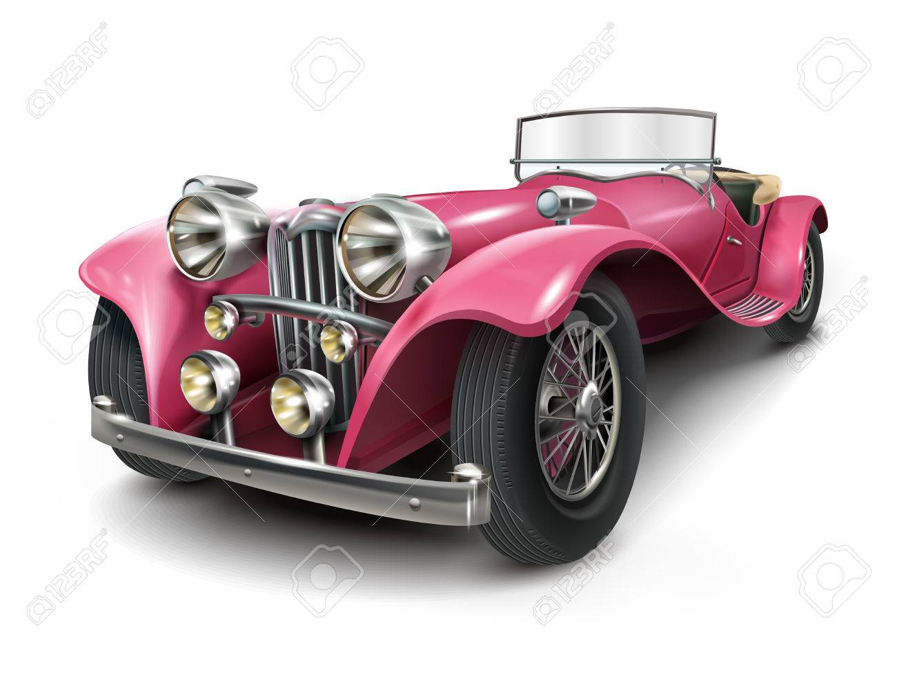 Attractive Classic Pink Car Isolated On White Background Royalty