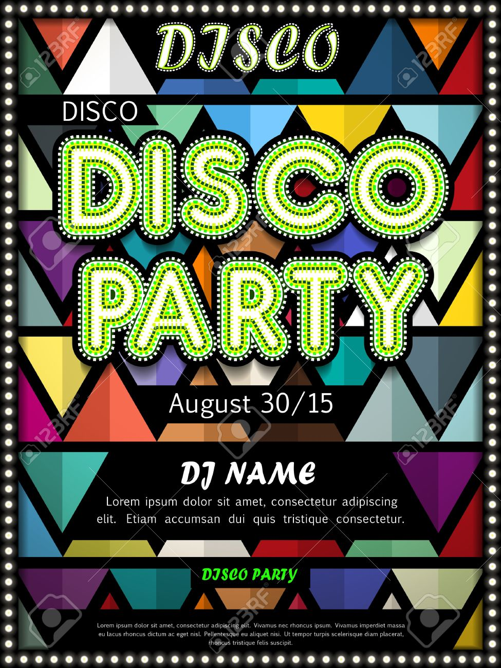 Poster design elements - Vector Modern Disco Party Poster Design With Colorful Triangle Elements