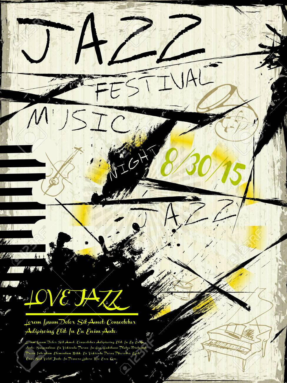Elegante Festival De Jazz Cartel De La Música Plantilla De Diseño ...