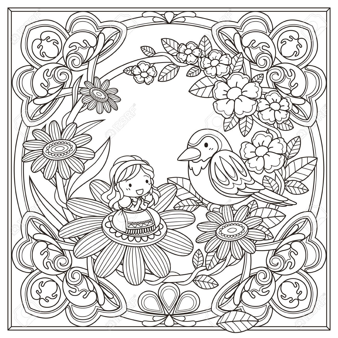 Coloring book for girl - Vector Black And White Pattern For Coloring Book For Adults With Adorable Girl And Bird Background