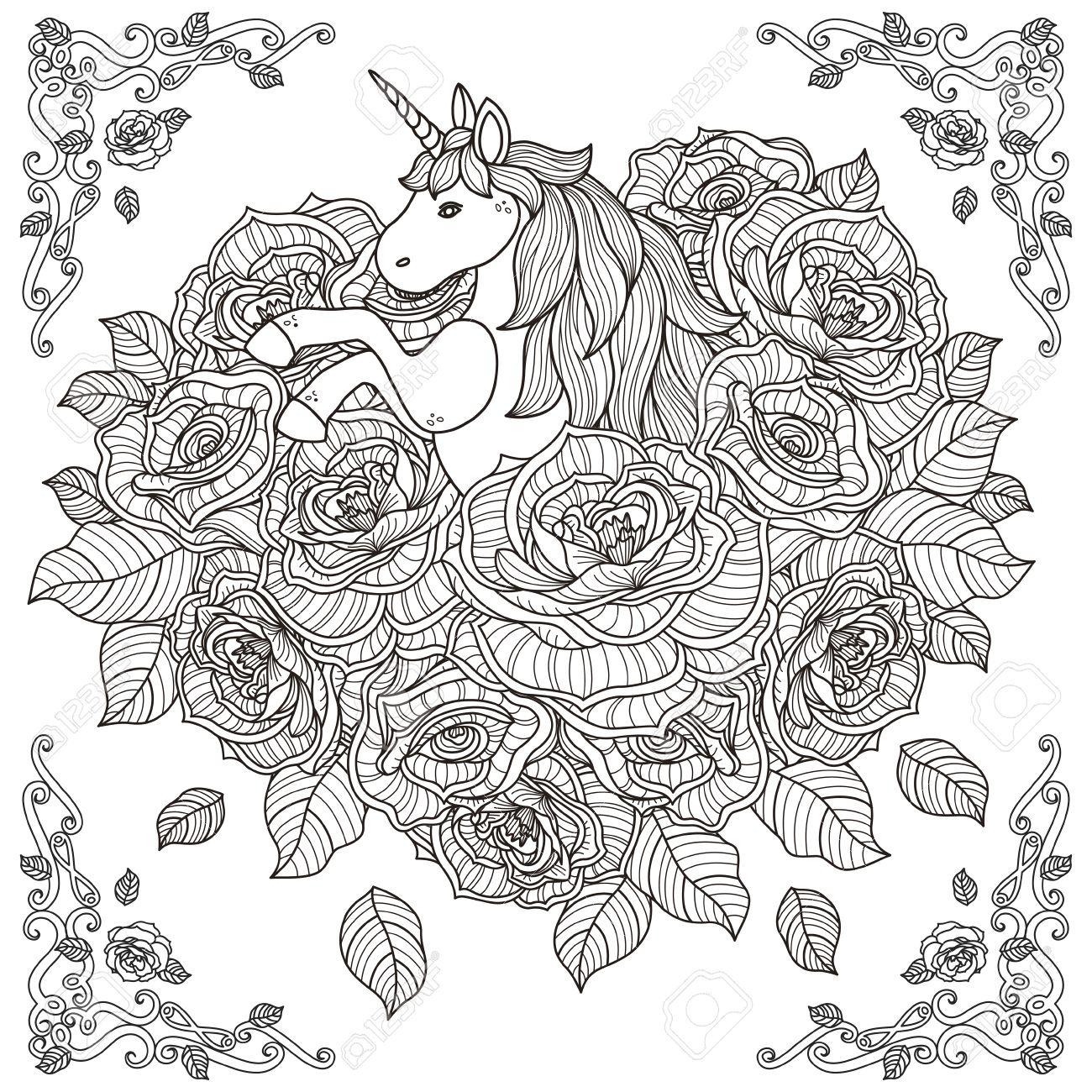 愛らしいユニコーンとバラの背景を持つ大人のための塗り絵の黒と白の