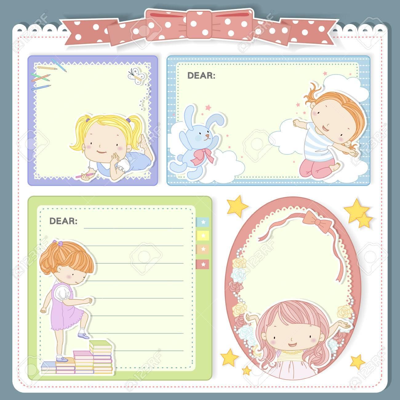 adorable cartoon style memo pad template design set stock vector 44559990