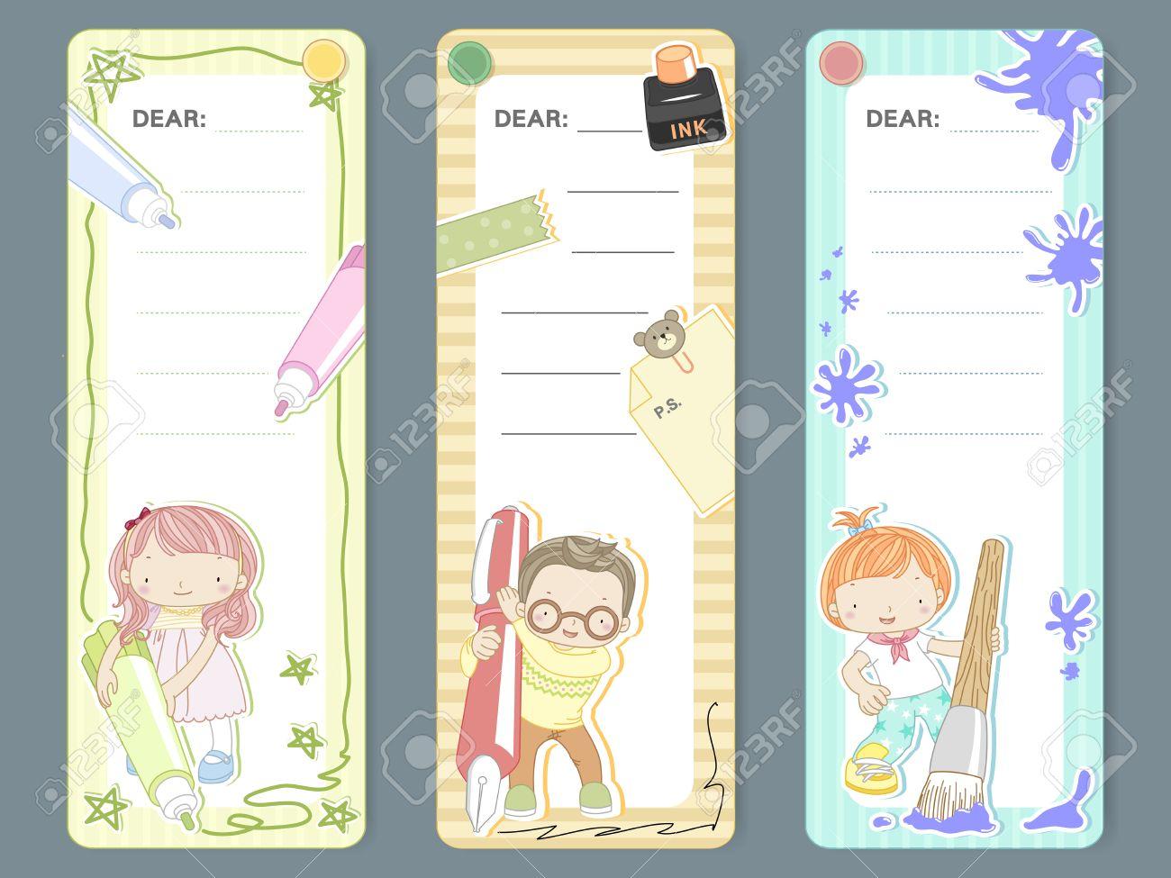 adorable cartoon style memo pad template design set royalty vector adorable cartoon style memo pad template design set