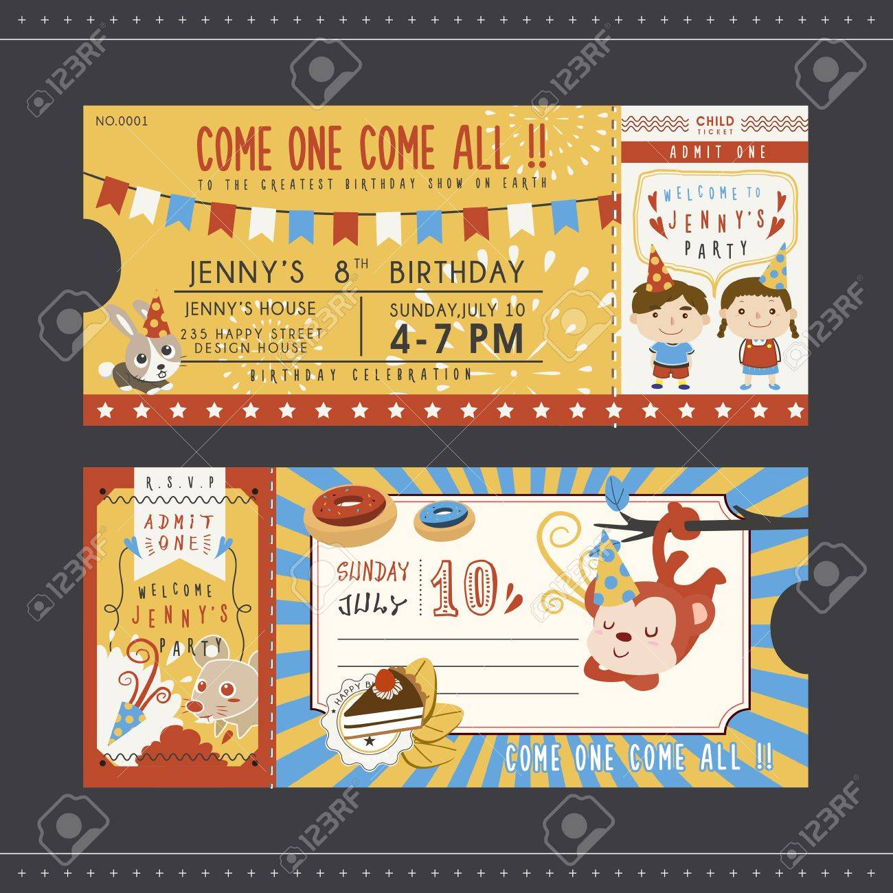 Adorable Cartoon Birthday Party Invitation Template Collection ...