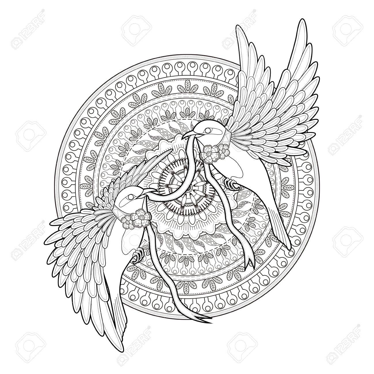 Elegant Bird Coloring Page In Exquisite Style Royalty Free Cliparts ...