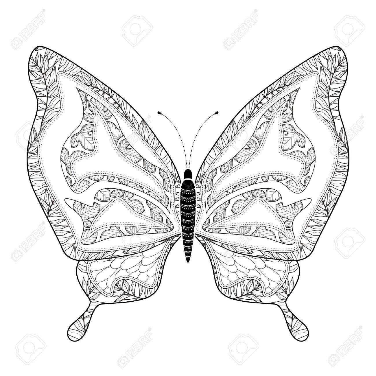 Página Elegante Para Colorear Mariposa En Un Estilo Exquisito ...