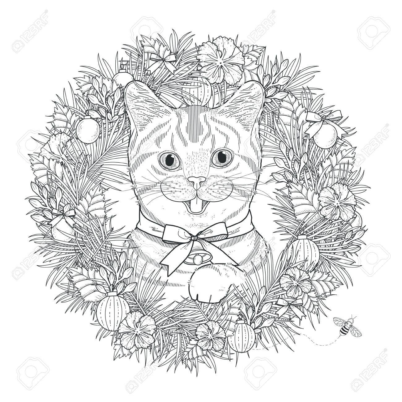 Adorable Kitty Coloring Page In Exquisite Style Stock Vector