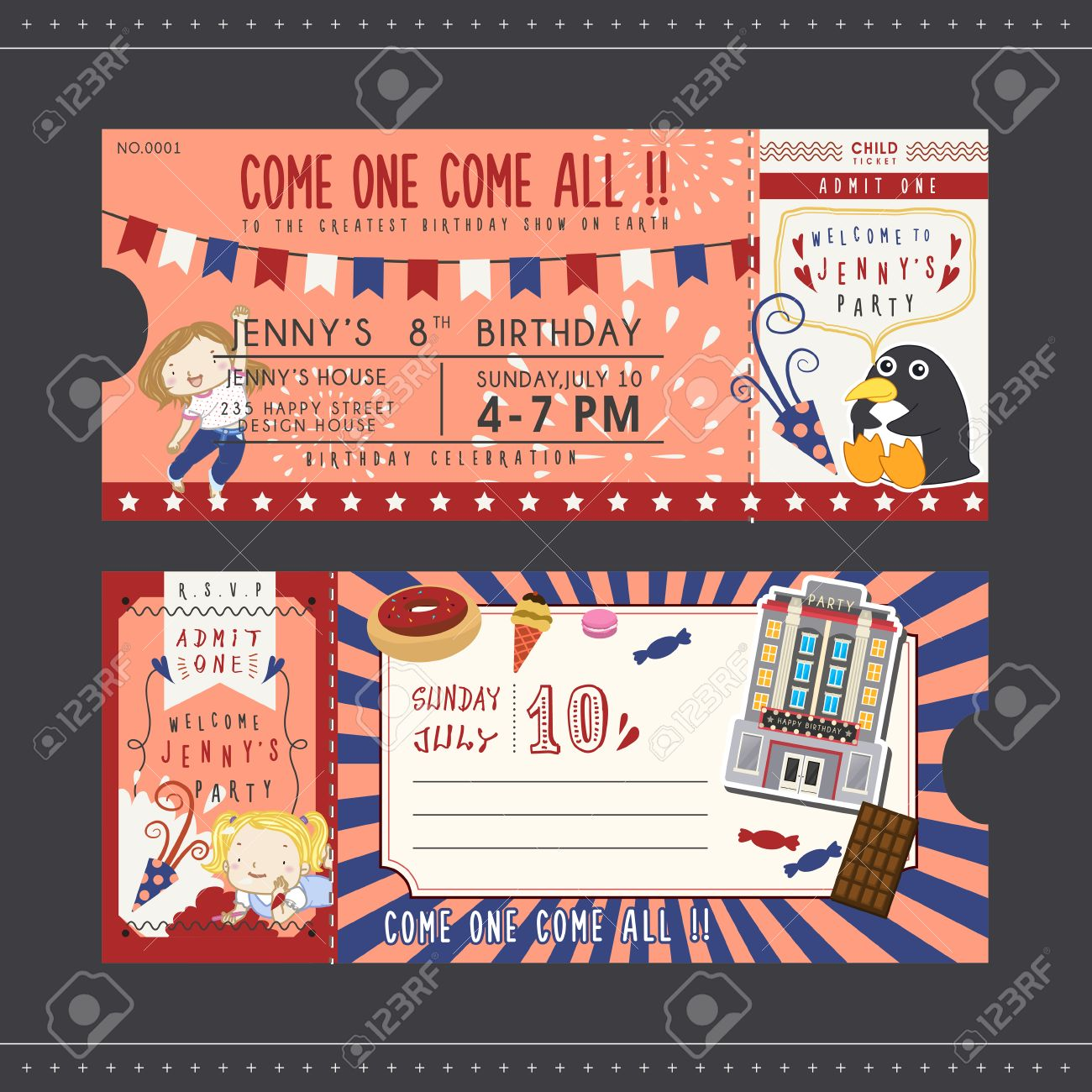 Lovely Birthday Party Invitation Ticket For Children Royalty Free ...