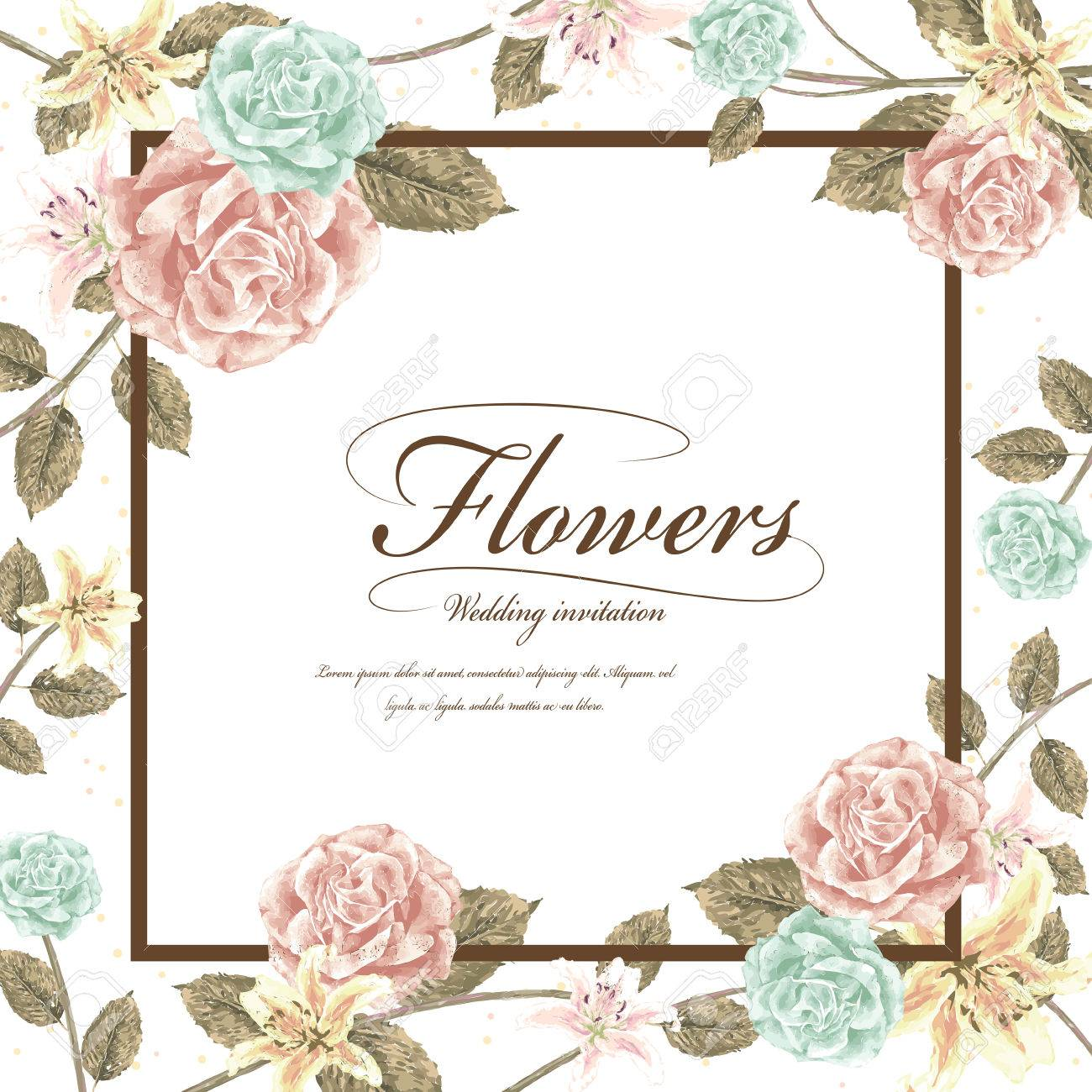Romantic Flowers Wedding Invitation Template Design With Roses ...