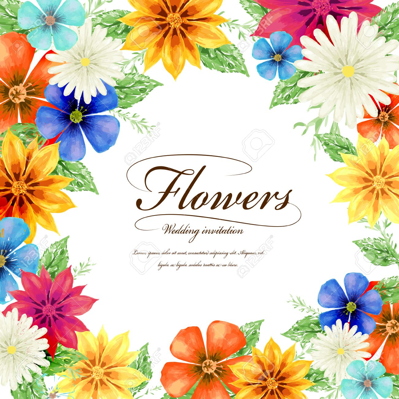 attractive tropical style floral wedding invitation template design stock vector 45026757