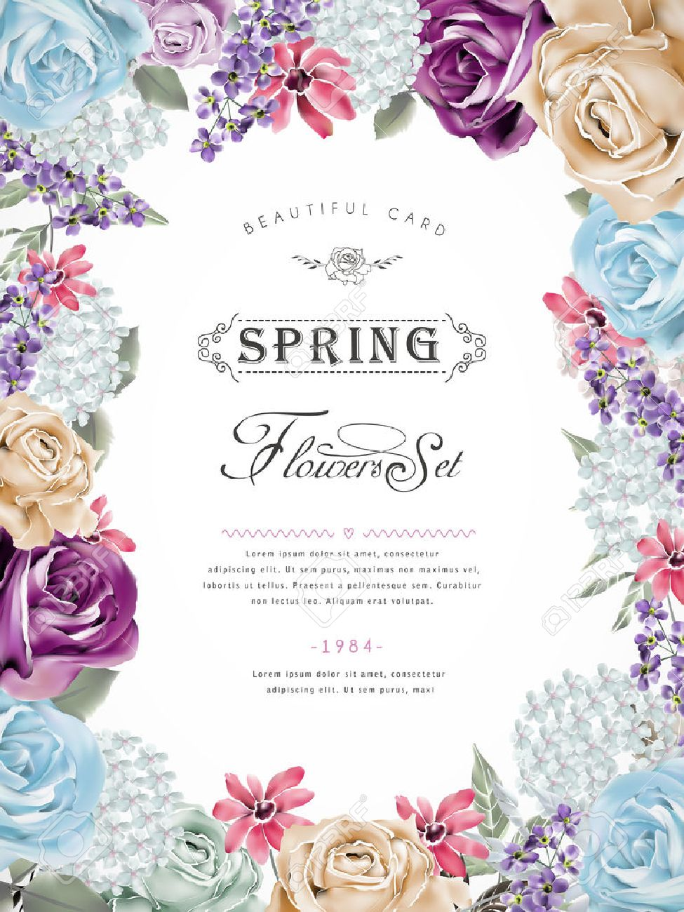 wonderful floral poster design with diverse flowers frame royalty