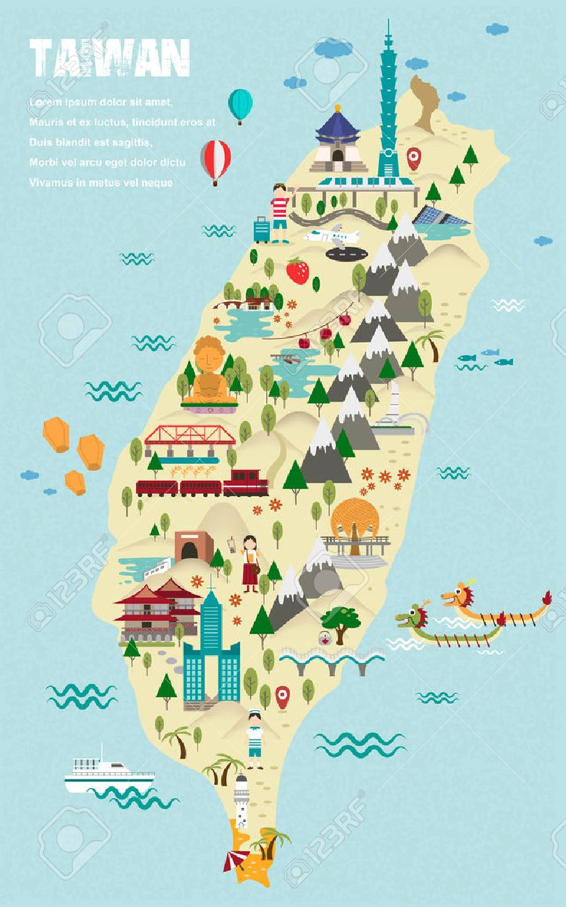 Lovely Taiwan Travel Map In Flat Design Style Royalty Free – Taiwan Tourist Attractions Map