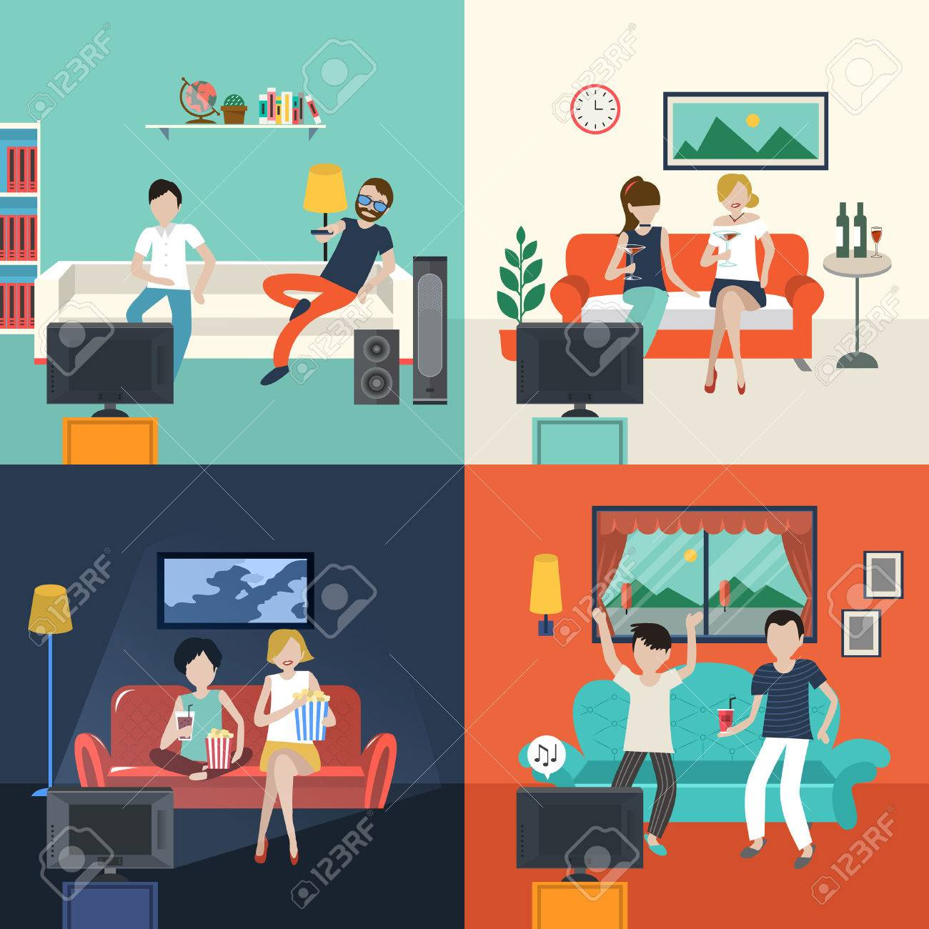 Vector Friends Watching Tv Program In The Living Room In Flat Design