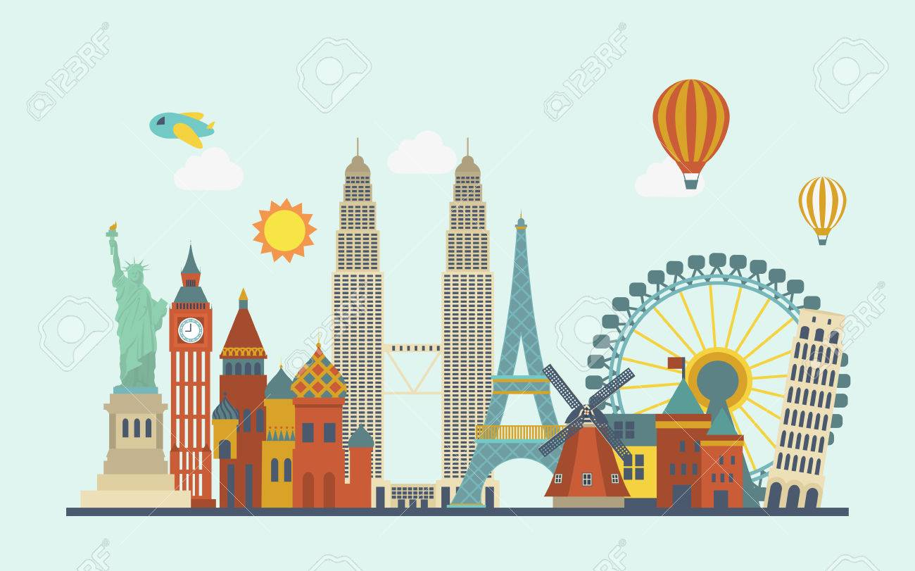 world famous attractions in flat design style - 45530632