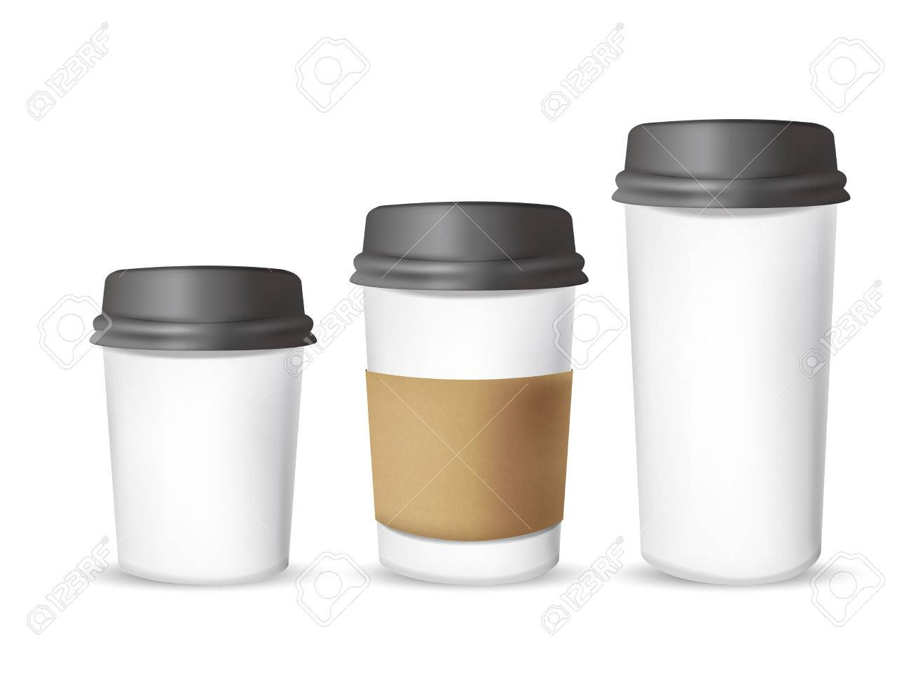 takeout coffee cup templates over white background royalty free