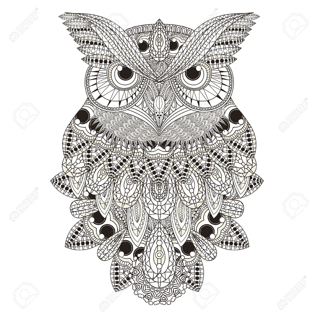 sumptuous owl coloring page in exquisite style royalty free