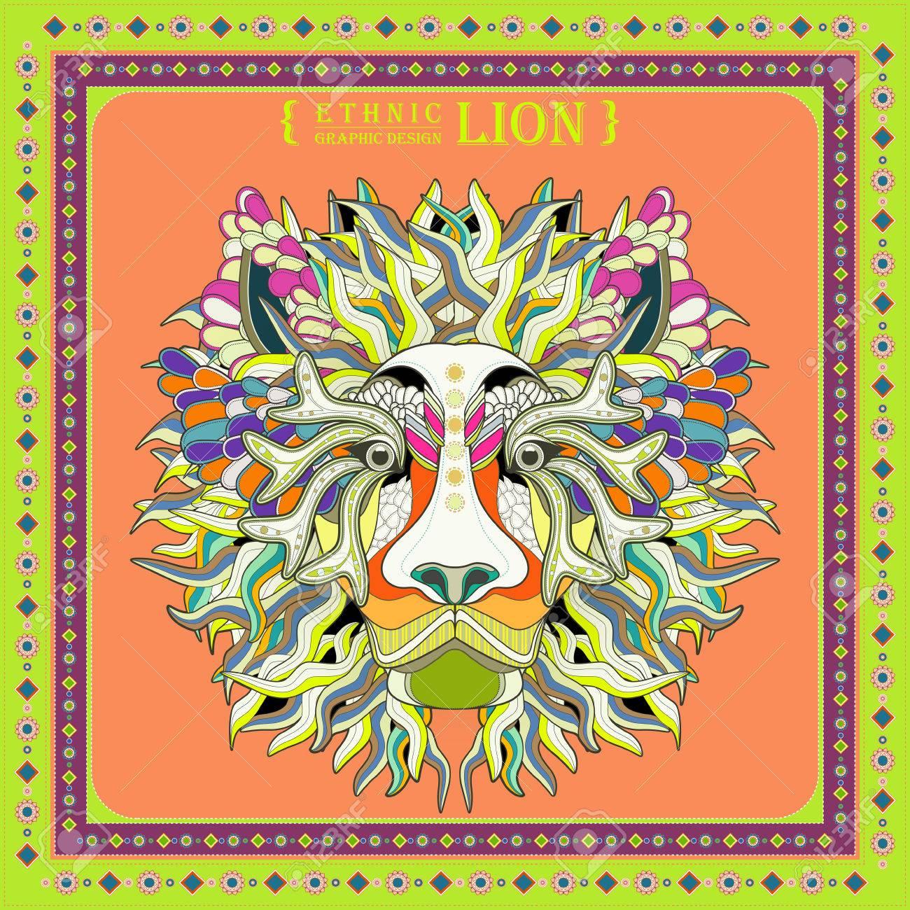 Atractivo Diseño De Páginas Para Colorear Cabeza De León En Estilo ...