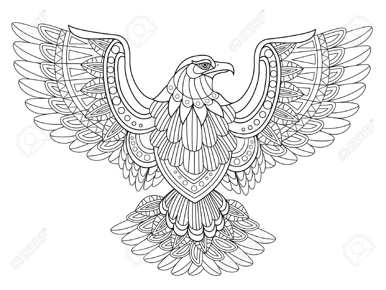 Volando Para Colorear águila En Estilo Exquisito Ilustraciones ...