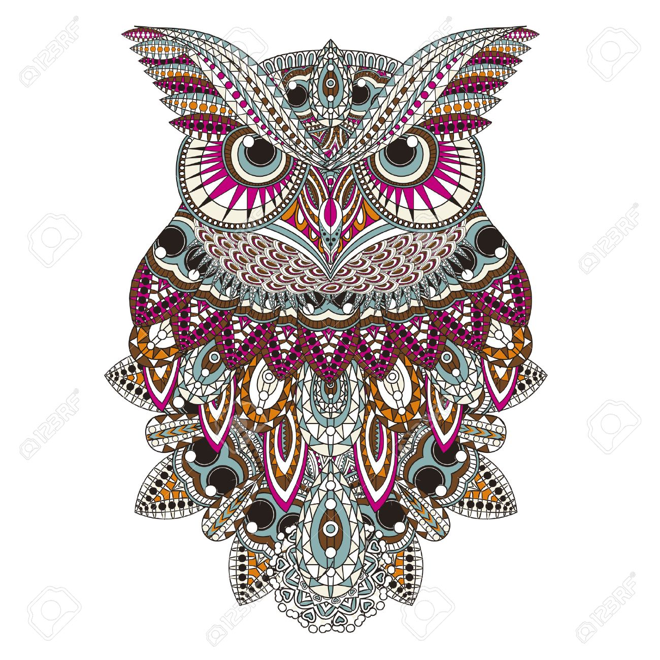 Sumptuous Owl Coloring Page In Exquisite Style Stock Vector