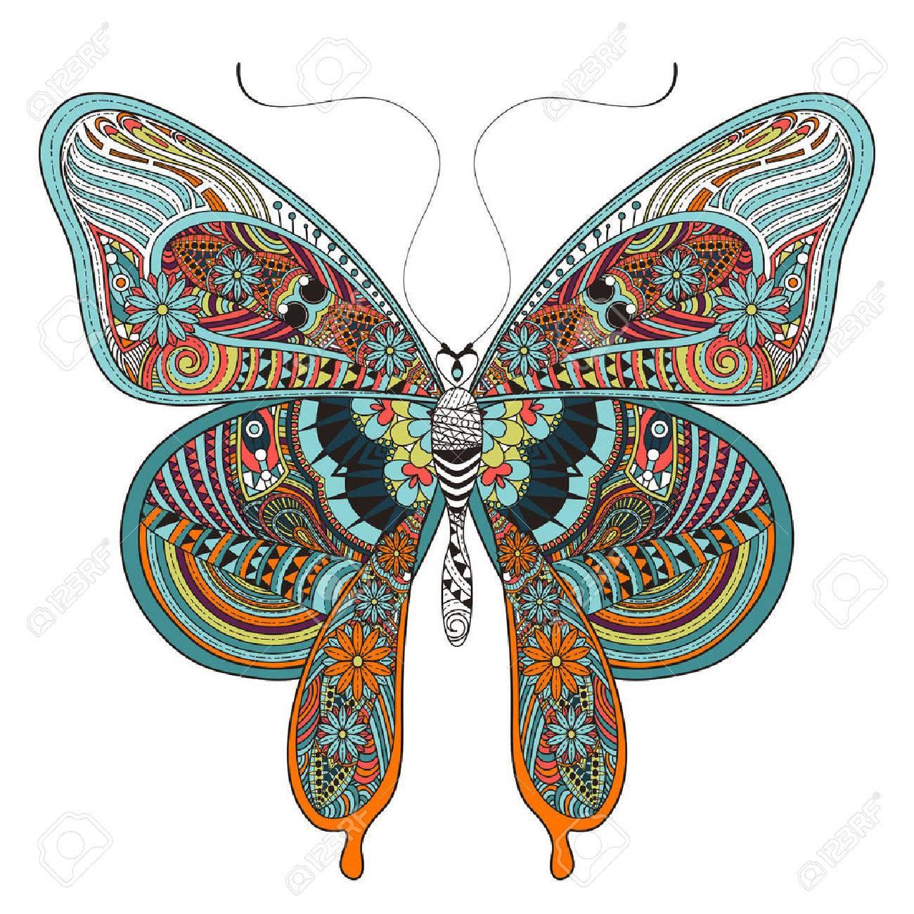 Hermosa Página Para Colorear Mariposa En Un Estilo Exquisito
