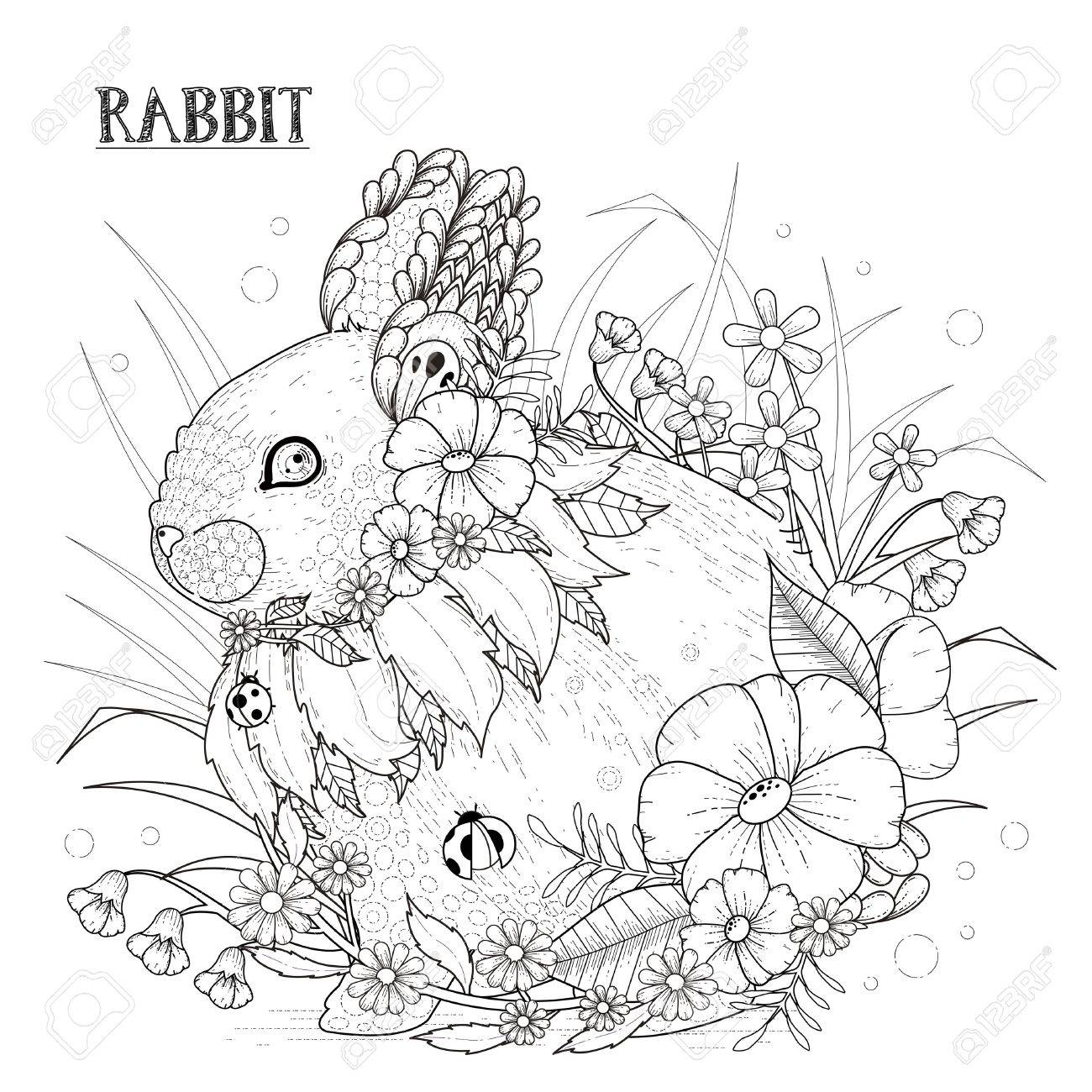 adorable rabbit coloring page in exquisite style royalty free