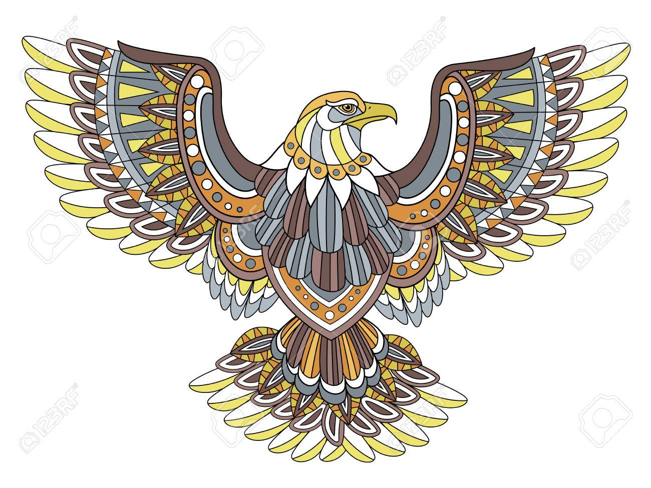 Flying Eagle Coloring Page In Exquisite Style Royalty Free Cliparts ...