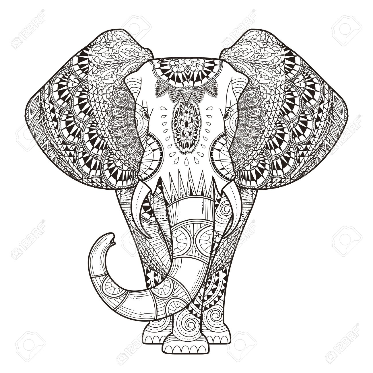 Graceful Elephant Coloring Page In Exquisite Style Royalty Free ...