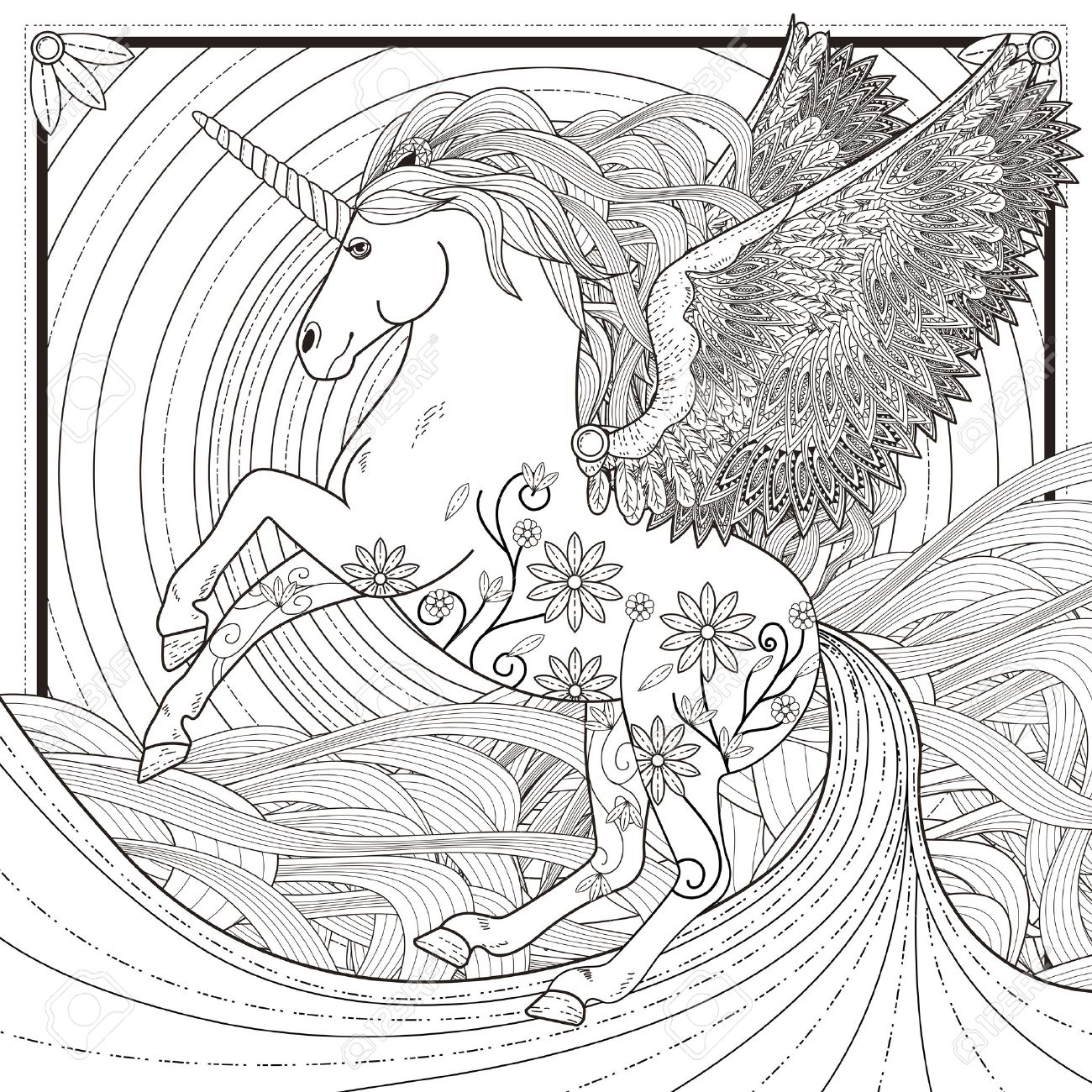 vector fantastic unicorn coloring page in exquisite style