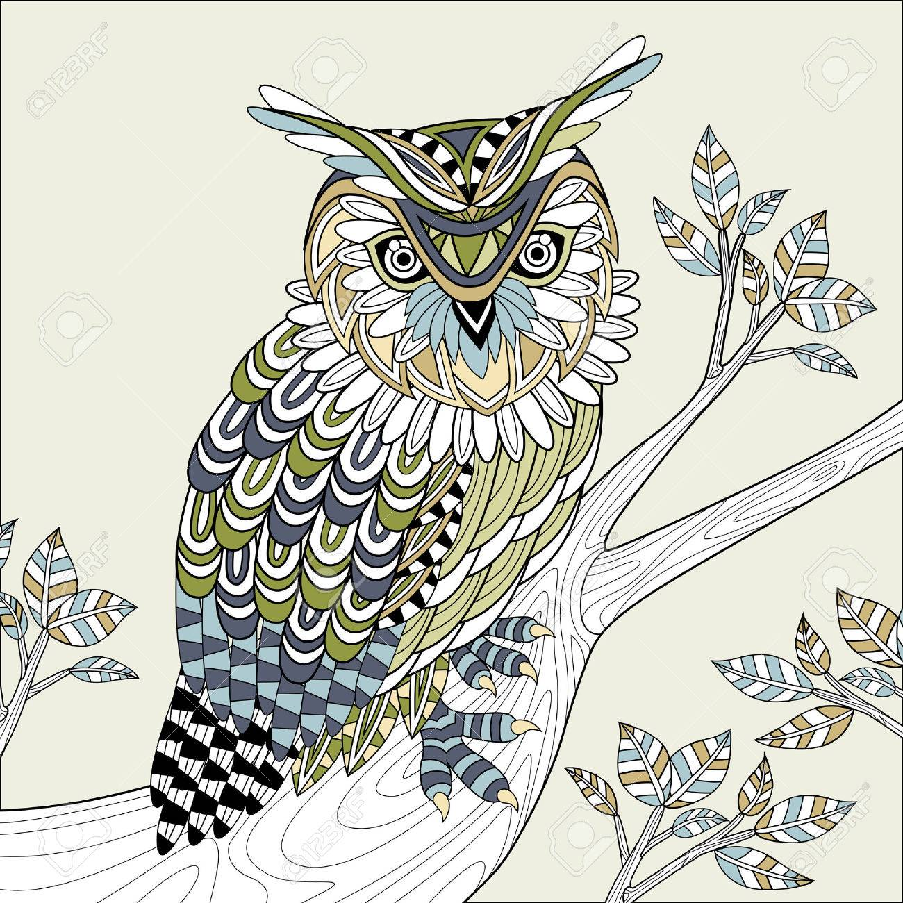 Wise Owl Coloring Page In Exquisite Style Stock Vector