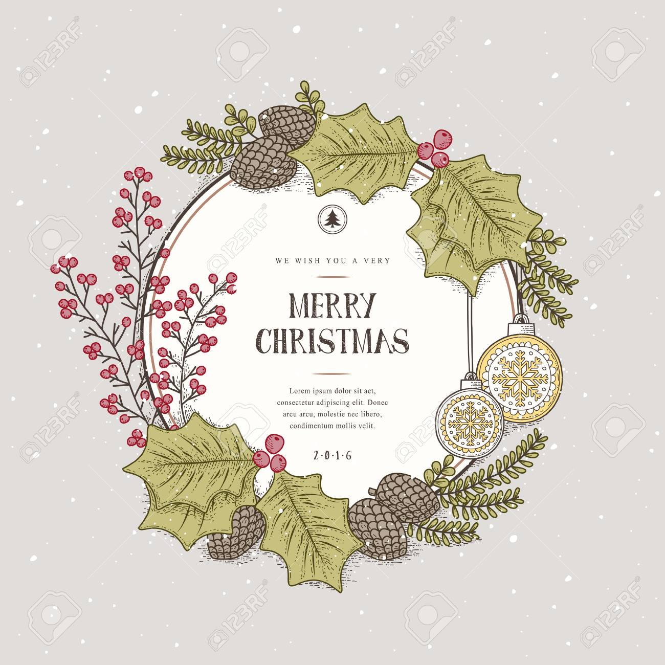 Lovely Merry Christmas Wreath Card Design In Hand Drawn Style