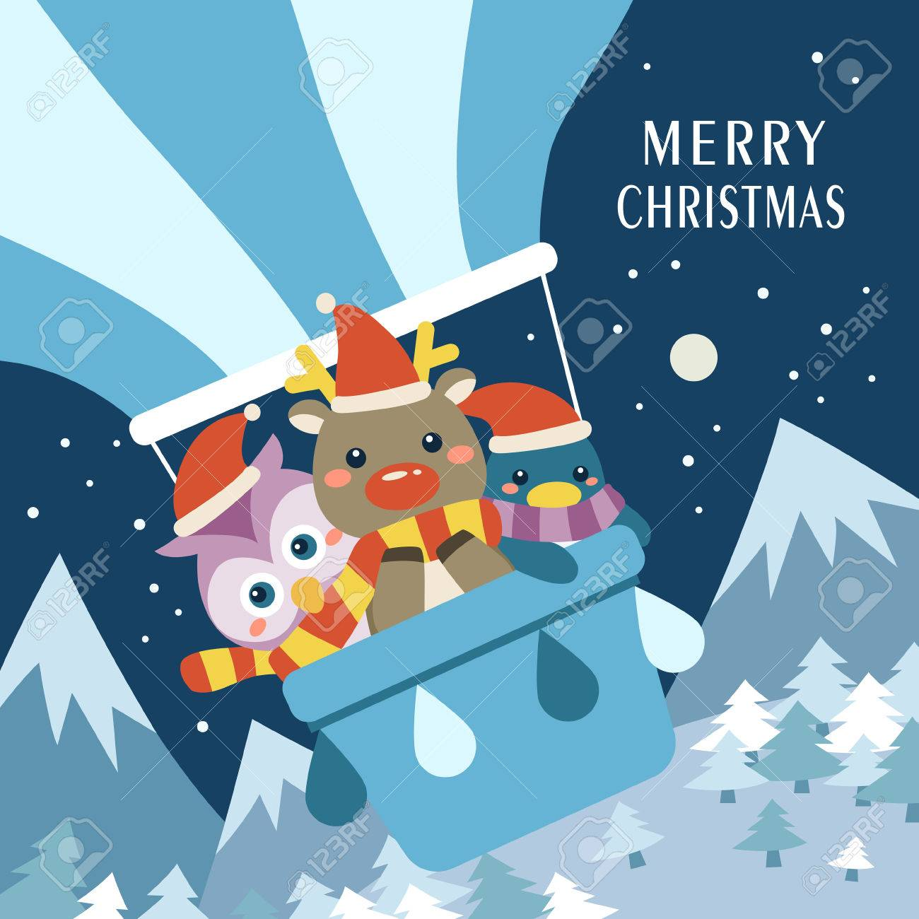 Adorable Merry Christmas Card Design With Lovely Animals