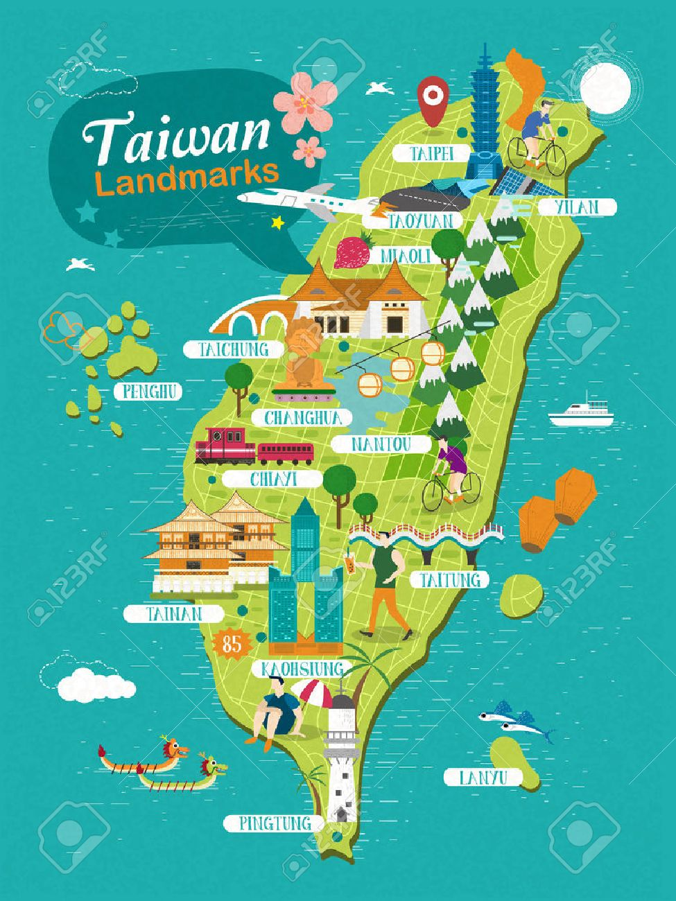 Taiwan Landmarks Travel Map In Flat Design Royalty Free Cliparts