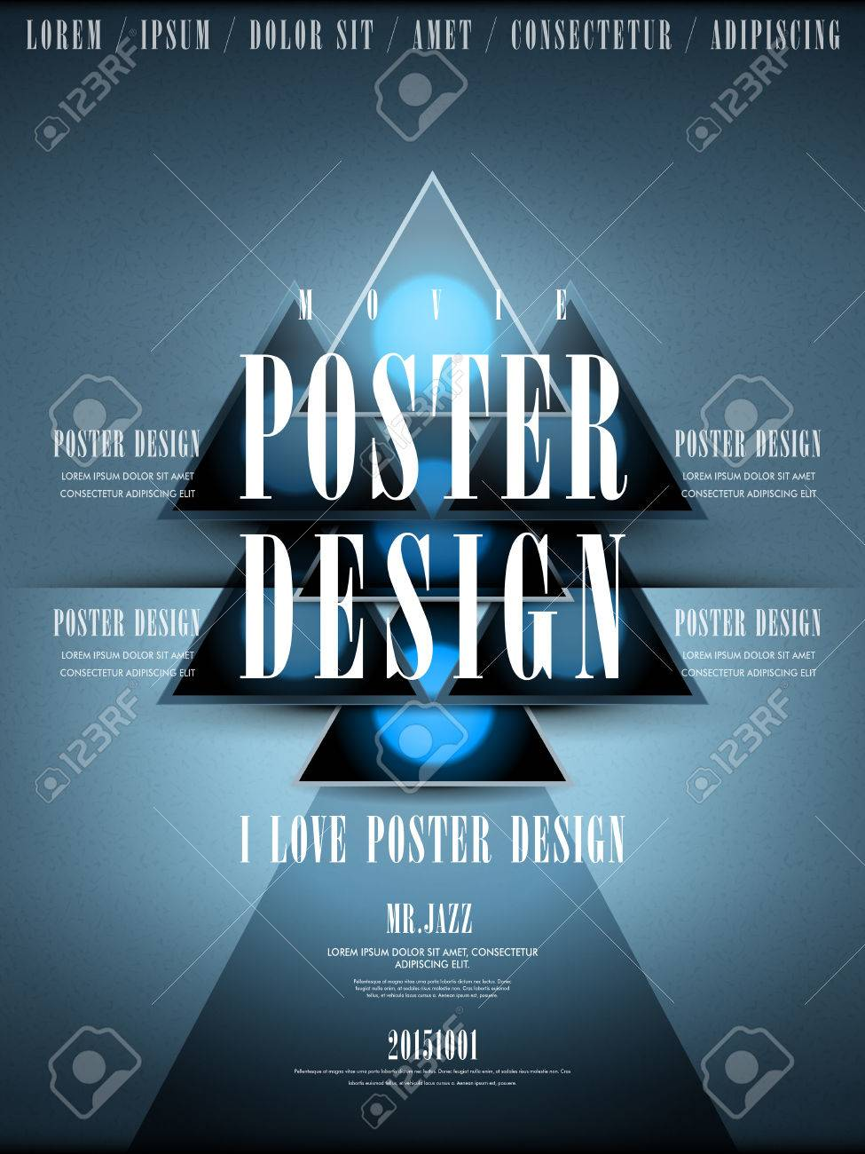 Modern Movie Poster Design Template With Geometric Elements Royalty