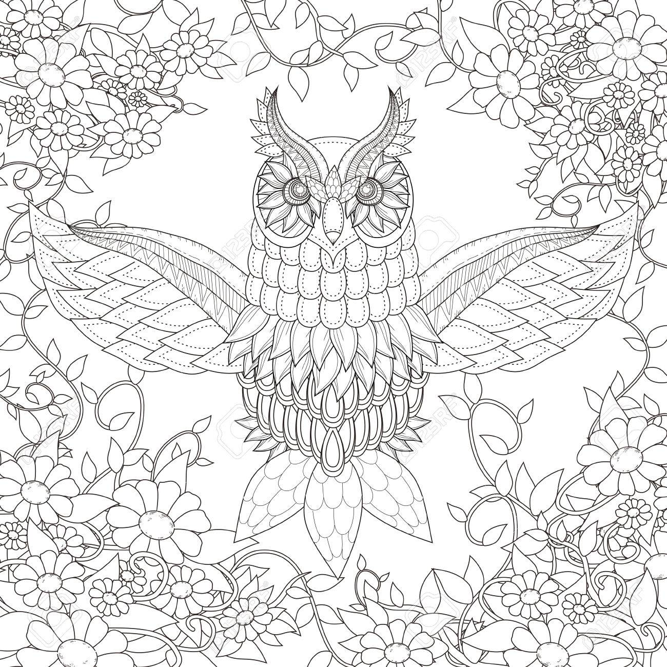 Beautiful Owl Coloring Page Design In Exquisite Style Stock Vector