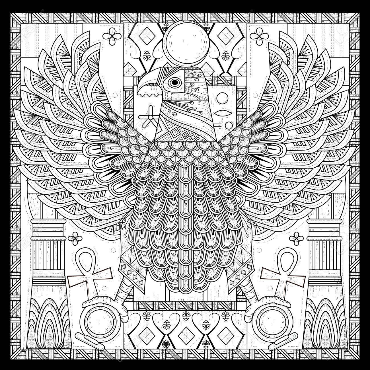 Coloriage Egypte Antique.Lgante Page A Colorier Aigle Dans Le Style Egypte Clip Art Libres De