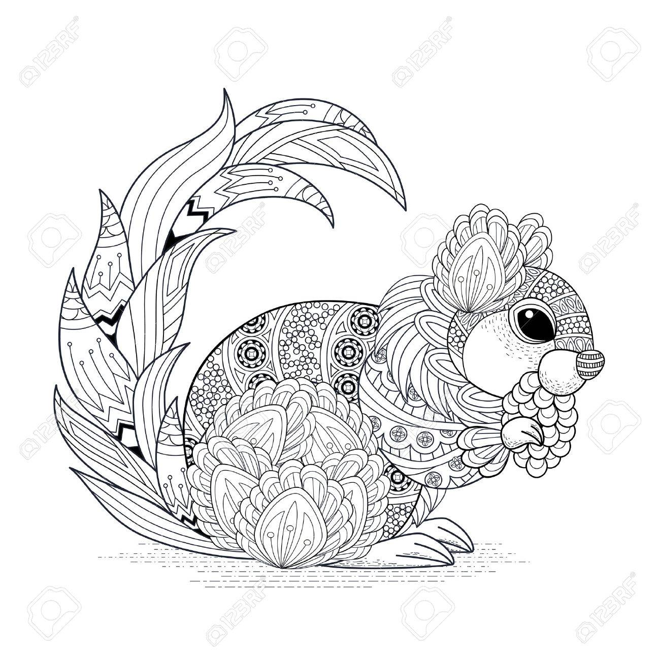 Lovely Squirrel Coloring Page In Exquisite Style Royalty Free ...