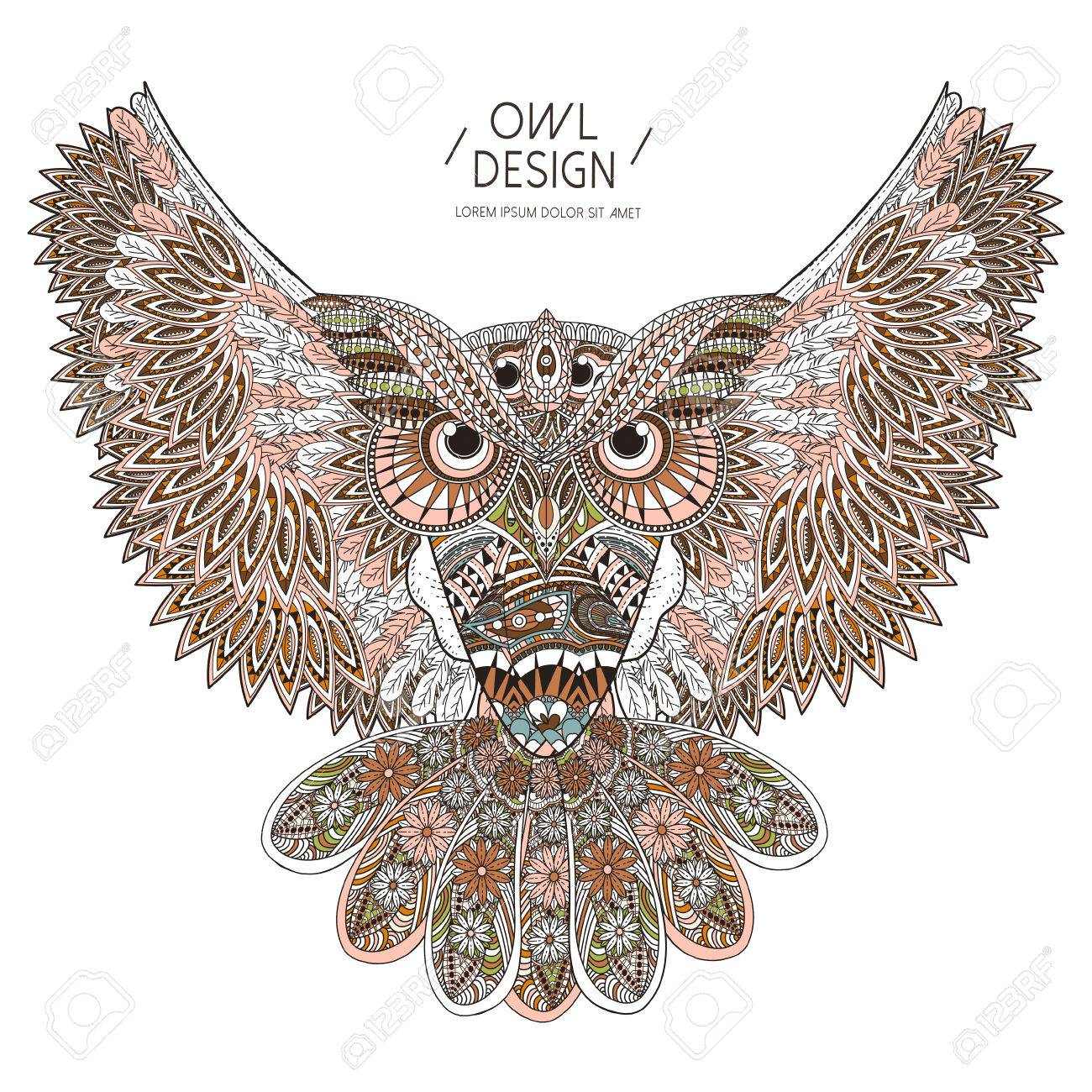 gorgeous owl coloring page design in exquisite style royalty free