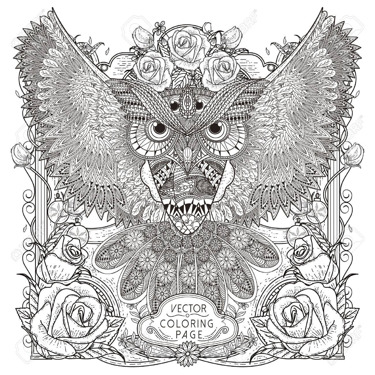 Coloring pages for down syndrome adults - Adult Gorgeous Owl Coloring Page Design In Exquisite Style