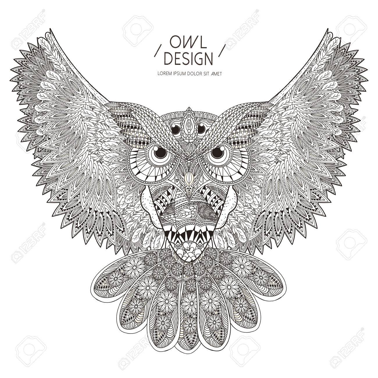 Gorgeous Owl Coloring Page Design In Exquisite Style Stock Vector